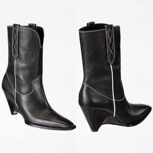 Zara SRPLS Geometric Cowboy Leather High-Heel Boot